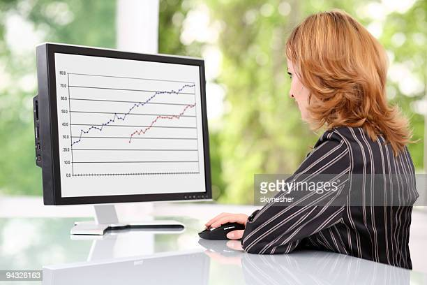 Businesswoman looking at monitor.