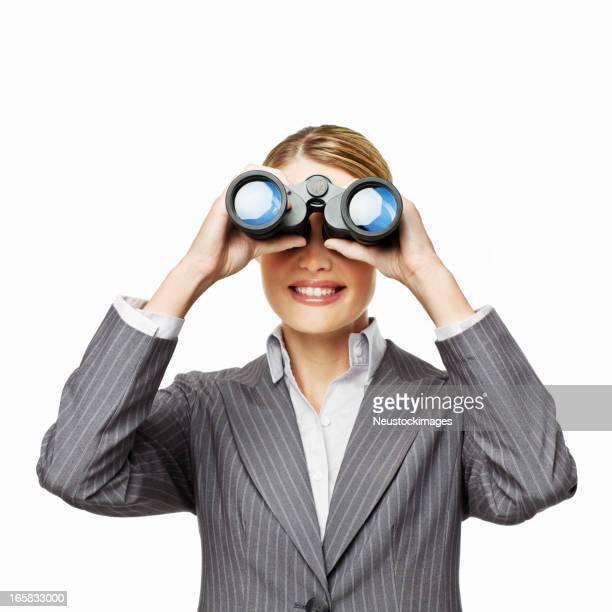 Geschäftsfrau Blick durch das Fernglas-isoliert