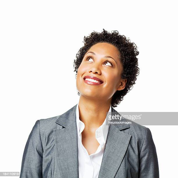 Businesswoman Looking Up - Isolated