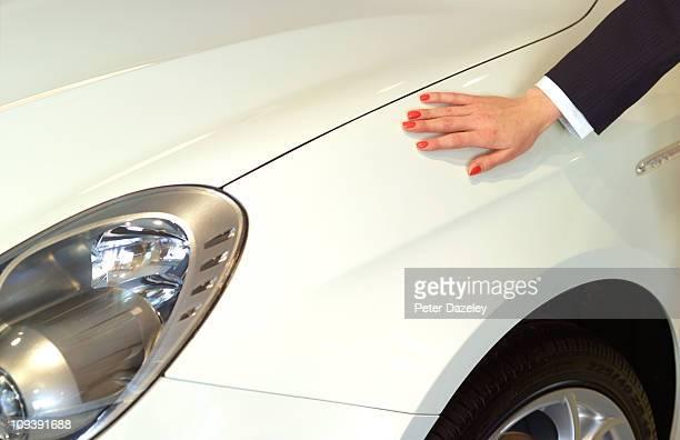 Businesswoman loves her car