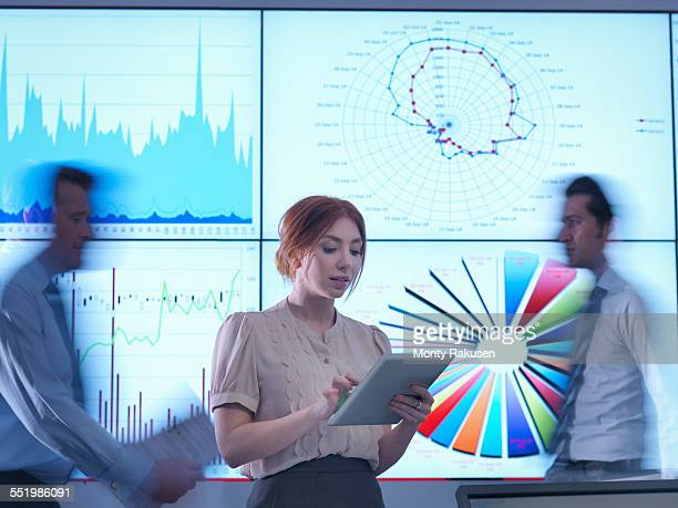 Businesswoman making presentation in front of graphs on screen as colleagues pass behind