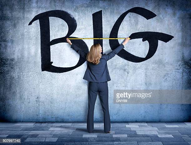 Businesswoman Measuring The Word Big