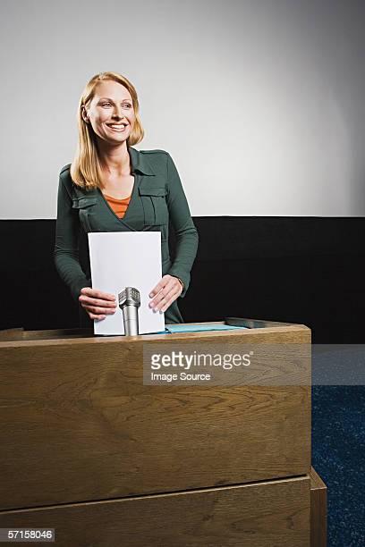 Businesswoman on podium