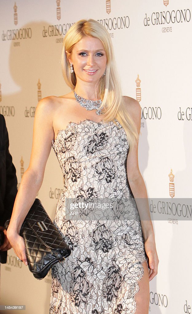 US businesswoman Paris Hilton attends the Grisogono Party at the Hotel Eden Roc in Antibes during the 65th Cannes film festival on May 23, 2012.