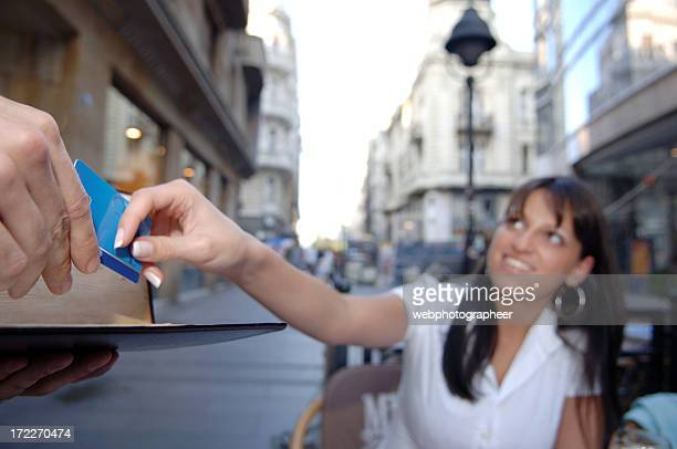 Businesswoman paying with credit card XL