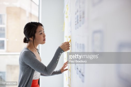 Businesswoman placing adhesive note on whiteboard