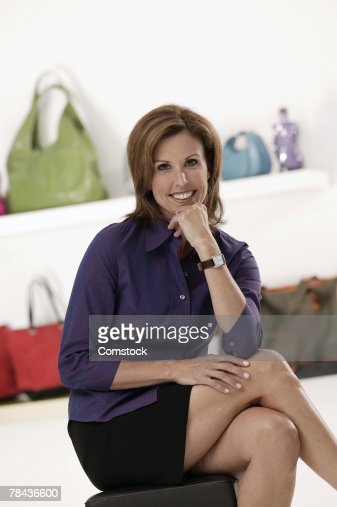 Businesswoman posing in accessories store