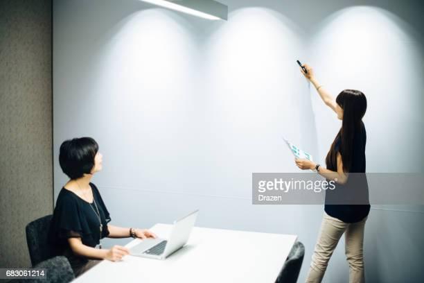 Businesswoman preparing presentation for management board