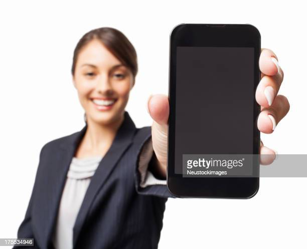 Businesswoman Presenting a Smart Phone - Isolated