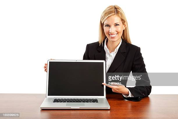 Businesswoman Presenting Computer Software