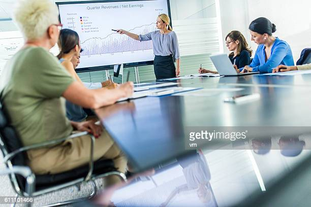 Businesswoman presenting revenue growth
