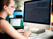Businesswoman Programmer Working Busy Software Concept