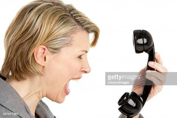 Geschäftsfrau schreien am Telefon
