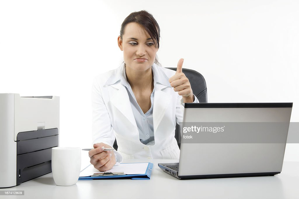 Businesswoman showing thumb : Stock Photo