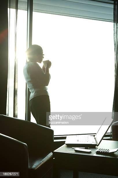 businesswoman silhouette looking outside
