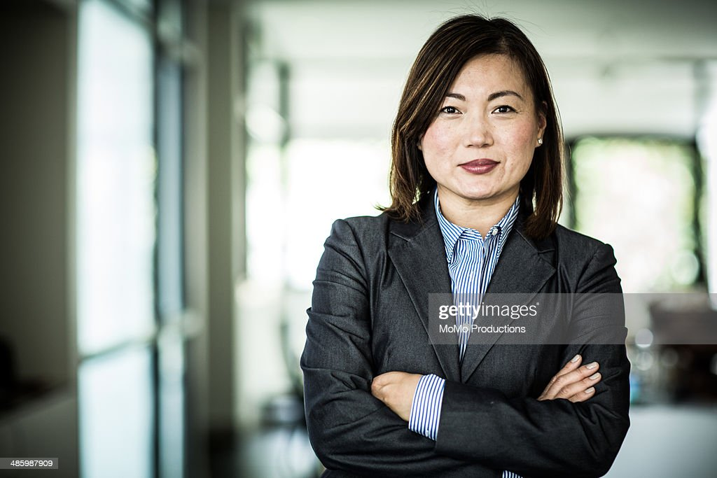 businesswoman smiling at camera