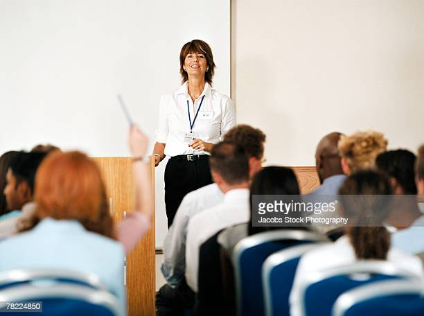 Businesswoman speaking at a seminar