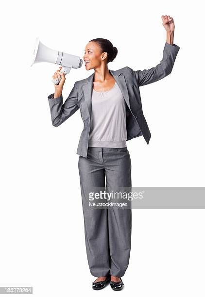 Businesswoman Speaking Into Bullhorn - Isolated