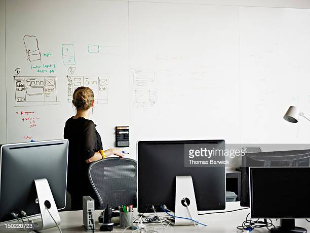 Businesswoman standing in office looking at board