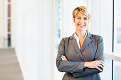 Portrait of happy mid adult businesswoman standing with arms crossed. Horizontal shot.