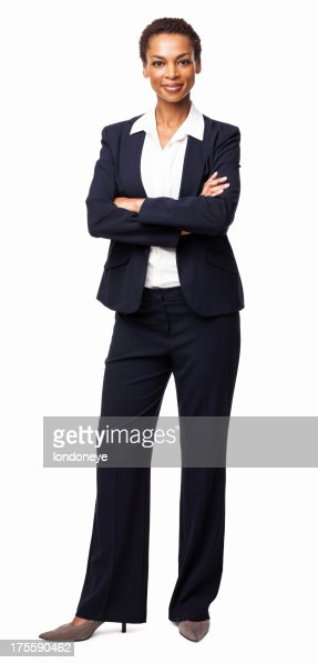Businesswoman Standing With Hands Folded - Isolated