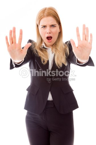 Businesswoman Stopping With Hand Gesture Stock Photo