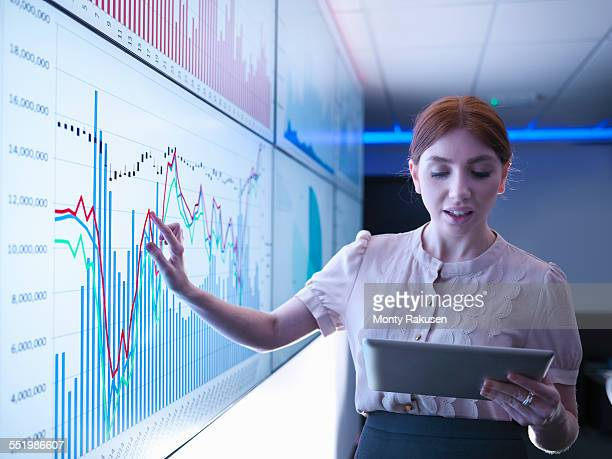 Businesswoman studying graphs on screens with digital tablet