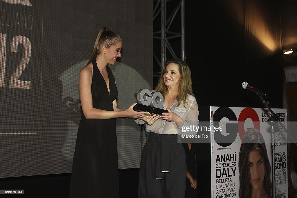 Businesswoman Susana de la Puente recieves the award during the awards ceremony GQ Men of the Year 2012 at La Huaca Pucllana on November 23, 2012 in Lima, Peru.
