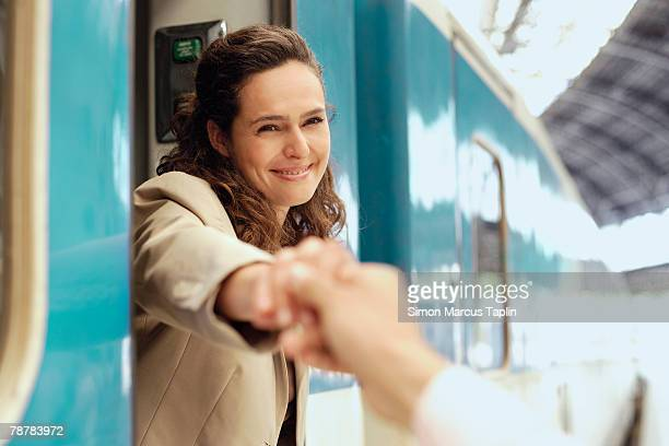 Businesswoman Taking Leave on Train