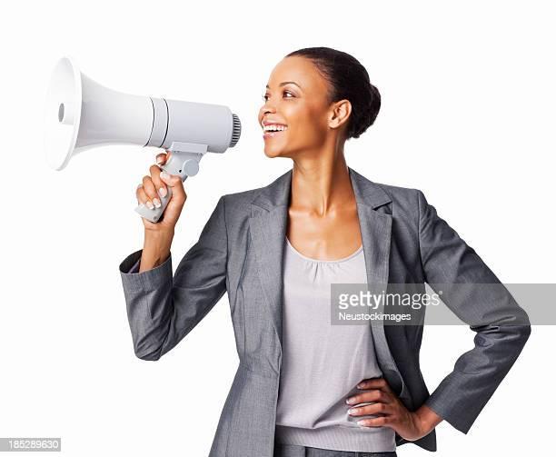 Geschäftsfrau mit einem Megafon-isoliert