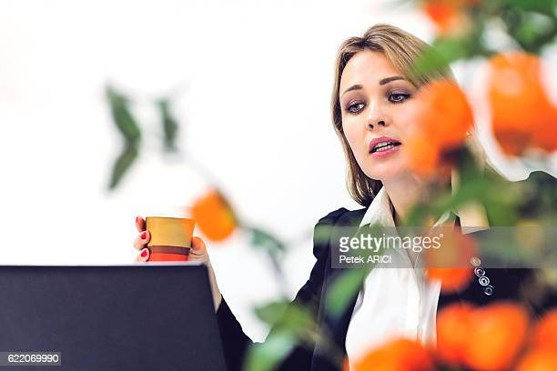 Businesswoman using mobile phone and laptop