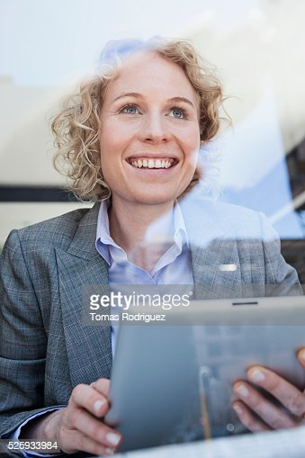 Businesswoman using tablet PC : Bildbanksbilder