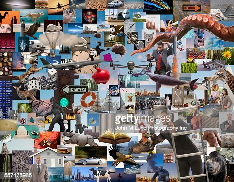 Businesswoman using telescope to examine collage of information