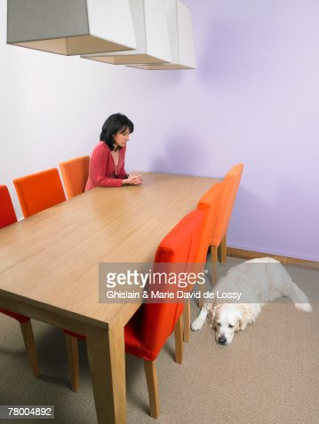 Businesswoman waiting at meeting table with dog  sleeping on floor. : Stock Photo