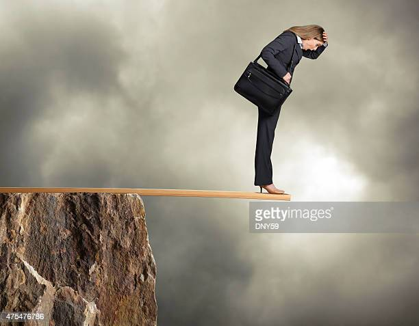 Businesswoman Walking the Plank