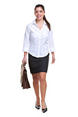 Young attractive businesswoman walking towards camera carrying a briefcase, white background.