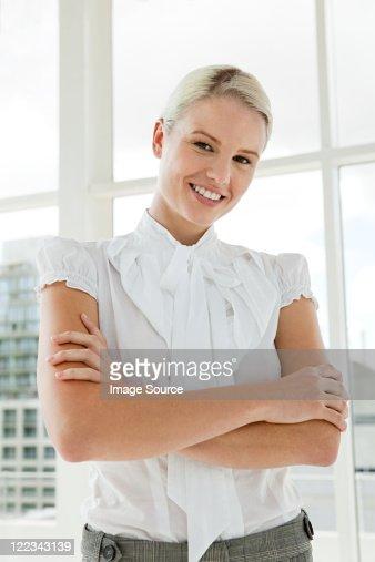 Businesswoman wearing white blouse, portrait