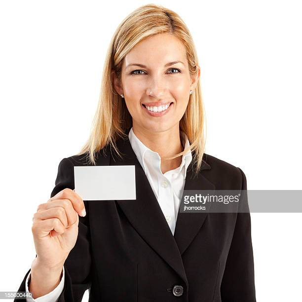 Businesswoman with Blank Business Card