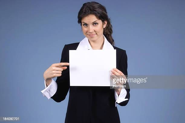 Businesswoman with Blank Sign