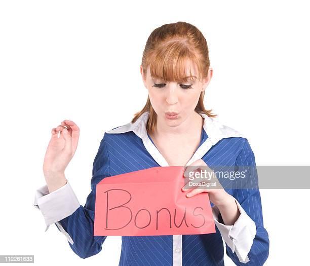Businesswoman with Bonus Envelope
