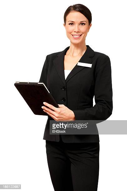 Businesswoman with Digital Tablet Computer Isolated on White Background