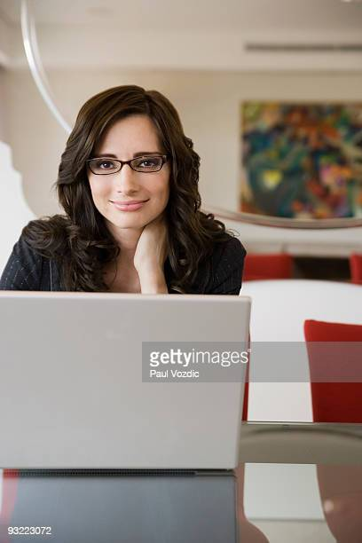 Businesswoman with laptop computer