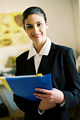 Businesswoman with reports