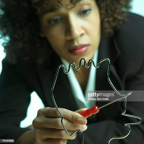 Businesswoman with toy