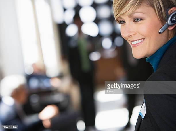 Businesswoman with Wireless Headset
