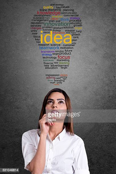 Businesswoman with word cloud in light bulb shape