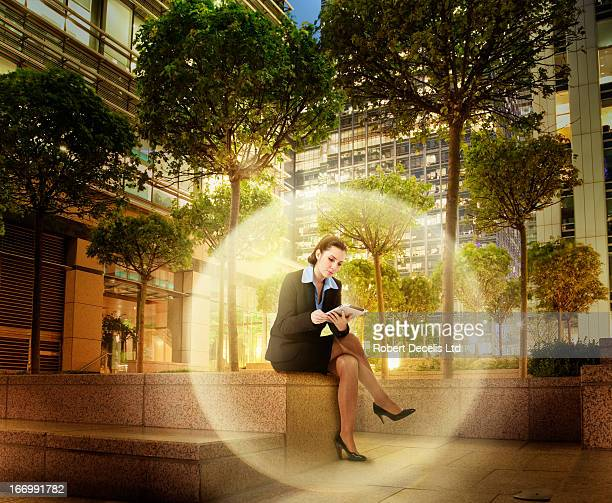 Businesswoman within virtual sphere