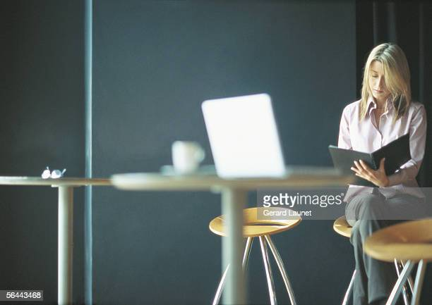 Businesswoman working alone in cafe setting