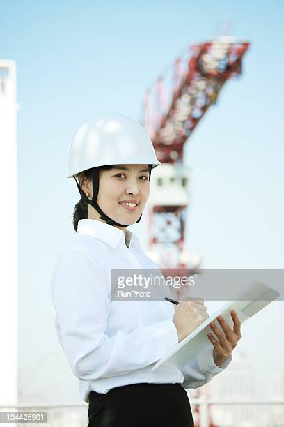 businesswoman working in construction sites