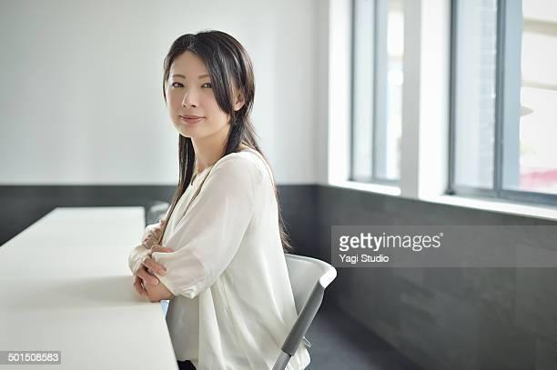 Businesswoman working in meeting room